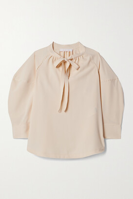 See By Chloe - Tie-neck Crepe Blouse - Cream