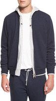 Brunello Cucinelli Baseball-Collar Zip-Up Sweatshirt, Blue