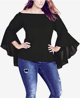 City Chic Trendy Plus Size Dramatic-Sleeve Top