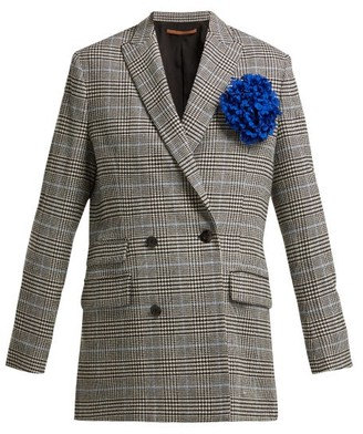 Summa - Prince Of Wales-check Wool-blend Blazer - Womens - Black White