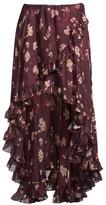 Caroline Constas Adelle Floral Silk Ruffle Skirt