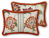 Rose Tree Lisburn Fringed Jacobean Floral & Herringbone Boudoir Pillow
