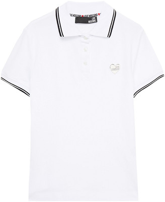 Love Moschino Appliqued Stretch-cotton Pique Polo Shirt
