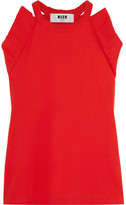 MSGM Ruffled Cotton-terry Top - Red