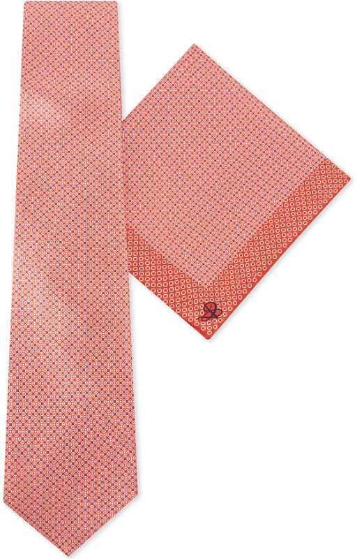 Canali Dotted block silk pocket square and tie set