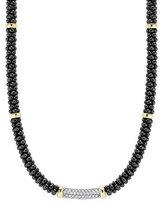 Lagos Black Caviar Diamond Station Necklace, 0.34ct.