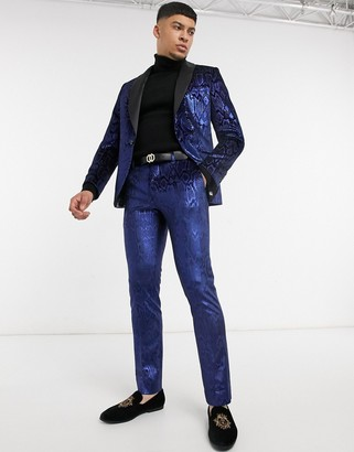 Twisted Tailor suit pants in metallic blue snake print