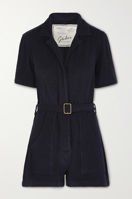 Giuliva Heritage Collection The Sienna Belted Cotton-blend Terry Playsuit - Navy