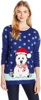Notations Women's Fuzzy Santa Hat Polar Bear Pullover Ugly Christmas Sweater