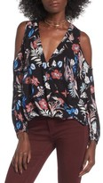 Lush Women's Surplice Cold Shoulder Blouse