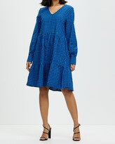 Thumbnail for your product : Only Women's Blue Mini Dresses - Lia Long Sleeve V-Neck Dress - Size One Size, XS at The Iconic