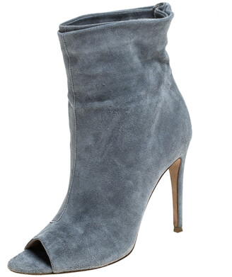 Burberry Grey Suede Leather Peep Toe Ankle Booties Size 37