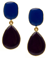 Kenneth Jay Lane Gold And Purple Enamel Drop Earrings