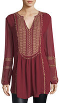Tolani Lauren Long-Sleeve Embroidered Boho Blouse, Plus Size