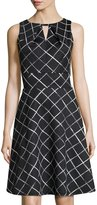 Donna Ricco Sleeveless Fit-and-Flare Diagonal Striped Dress, Black/White