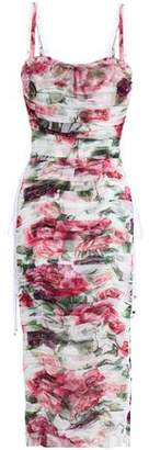 Dolce & Gabbana Ruched Floral-print Cotton And Silk-blend Mesh Midi Dress