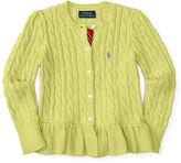 Ralph Lauren Cable Cotton Peplum Cardigan