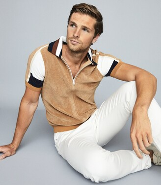 Reiss Capo - Towelling Zip Through Polo Shirt in Camel