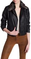 Jack Faux Leather Faux Fur Trim Moto Jacket