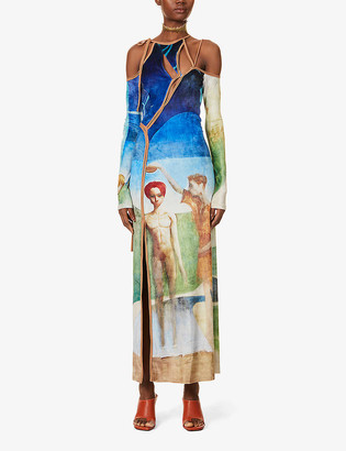 Ottolinger Graphic-print stretch-velvet maxi dress