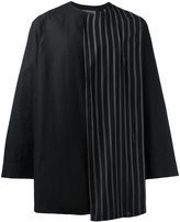 Yohji Yamamoto striped trim shirt - men - Cotton/Linen/Flax - 3