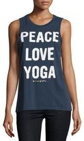 Spiritual Gangster Peace Love & Yoga Muscle Tank Top, Indigo