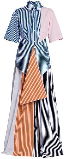 Plan C Multistripe Blocked Long Shirtdress