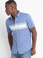 Gap Oxford chest stripe short sleeve slim fit shirt