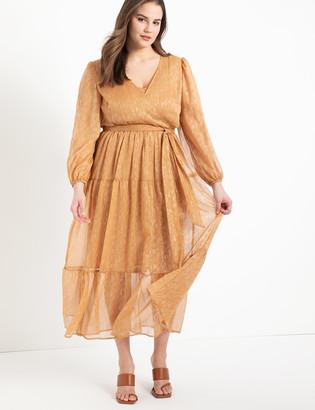ELOQUII Lurex Dress with Tiered Skirt