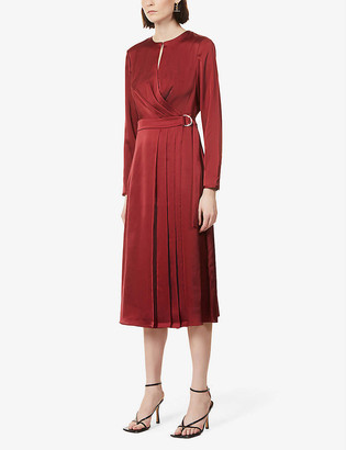 Ted Baker Pleat-detail satin midi dress