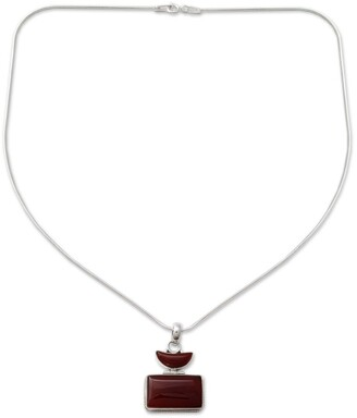 Novica Crescent Moon Red Onyx Sterling Silver Snake Chain Unique Choker Pendant Necklace