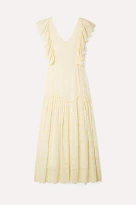 LoveShackFancy Cressida Ruffled Broderie Anglaise Cotton Maxi Dress - Pastel yellow