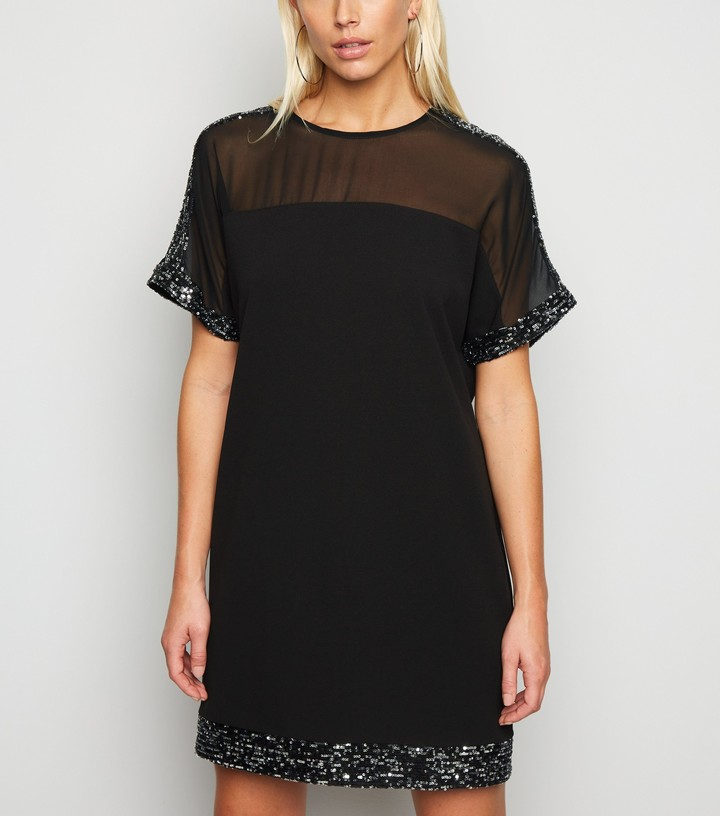 Thumbnail for your product : New Look Mesh Sequin Trim Shift Dress