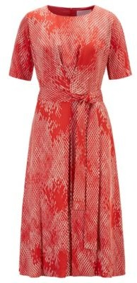 HUGO BOSS Lightweight Midi Length Dress With Exclusive Snake Print - Patterned