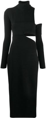 Proenza Schouler One Shoulder Bandage Turtleneck Knit Dress