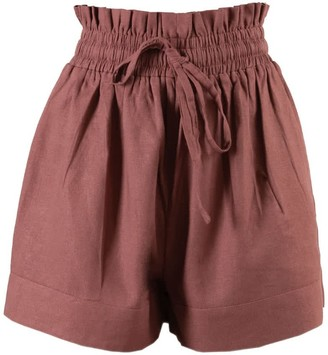 Nary Kep Linen Lounge Short In Rose Pink