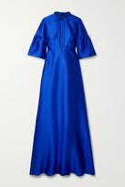 Thumbnail for your product : Reem Acra Tie-neck Mikado-pique Gown - Blue