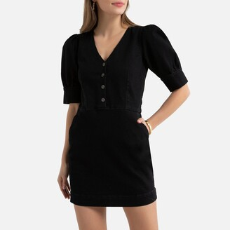 La Redoute Collections Cotton Short Bodycon Dress with Short Puff Sleeves and Pockets