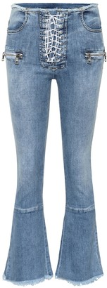 Unravel Lace-up mid-rise kick-flare jeans