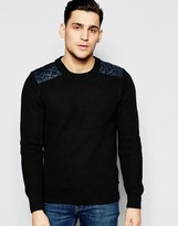 Scotch & Soda Crewneck Pullover With Quilted Satin Woven Shoulder Parts
