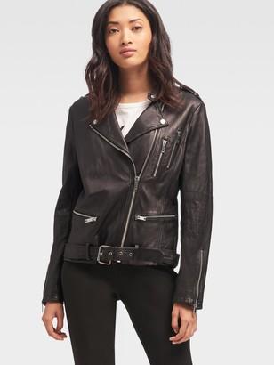 DKNY Women's Oversized Leather Motorcycle Jacket - Black - Size M