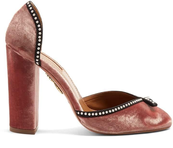 Aquazzura Lou Lou 115 embellished velvet block-heel pumps