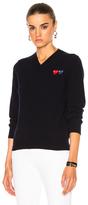 Comme des Garcons Double Emblem V Neck Sweater in Blue.