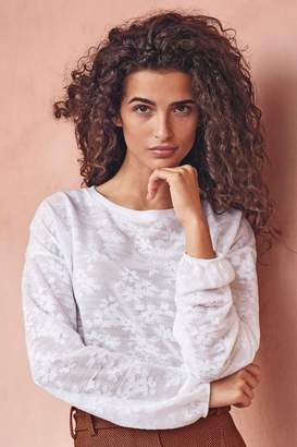 Next Womens White Floral Mesh Long Sleeve Top - White
