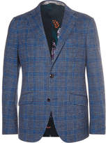 Etro Unstructured Checked Cotton And Wool-blend Blazer - Blue