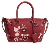 Valentino Garavani Double Handle Demilune Leather Satchel - Burgundy