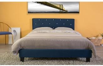 Bold Tones Velvet Tufted Platform Bed Frame Queen Size, Blue