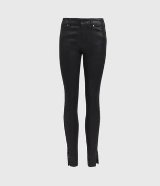 AllSaints Miller Mid-Rise Ministud Skinny Jeans, Coated Black