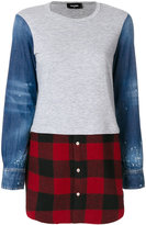 DSQUARED2 flannel-panelled sweatshirt