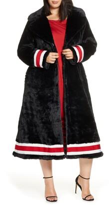 Coldesina Grosgrain Ribbon Trim Faux Fur Swing Coat